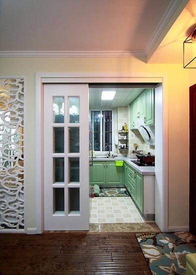 75平美式田园风格装修厨房图片大全