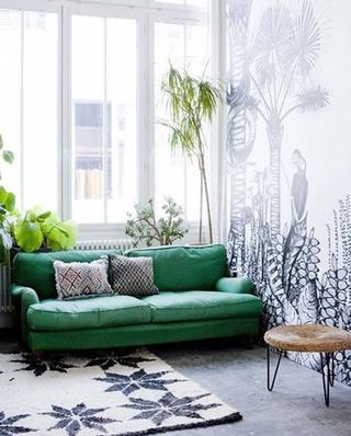 北欧风格客厅双人布艺沙发设计