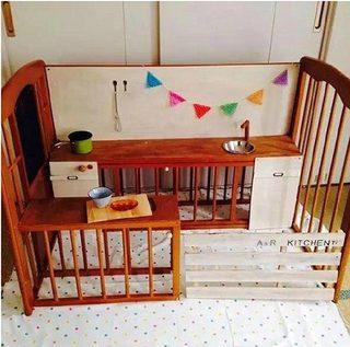 婴儿床改造书桌参考图