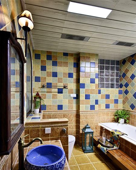 420平美式乡村别墅卫生间装潢图