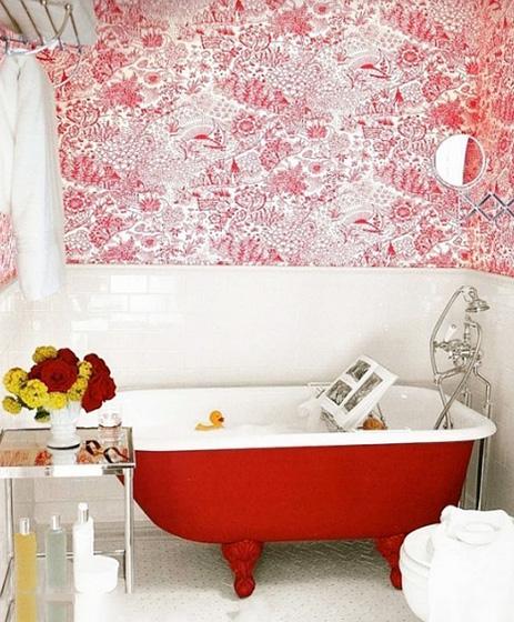 卫生间壁纸浴缸效果图