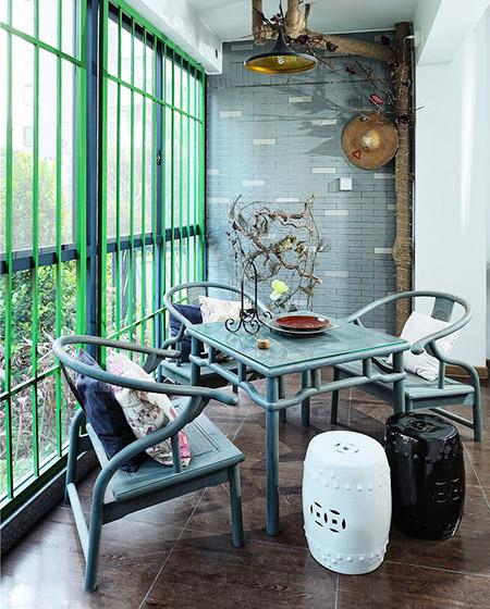 复古中式阳台茶室设计