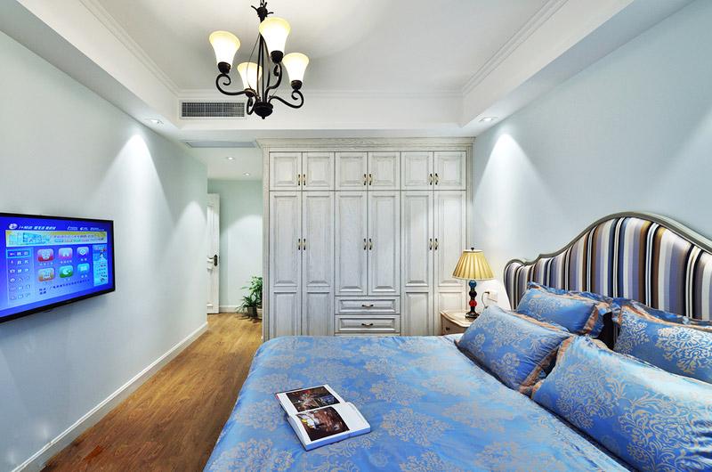 120平美式风格三居主卧室装修_齐家网装修效果图图片