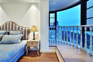 120平美式风格三居卧室飘窗效果图