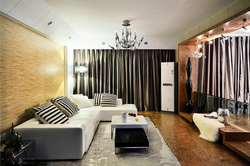 120平现代简约三居客厅沙发摆放图片