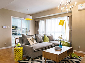 90平米北欧风格三室两厅装修 质朴橡树湾