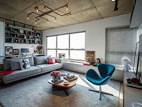 60㎡小户型单身公寓装修效果图  工业风向标