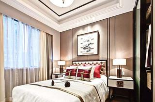 120平中式样板房卧室装修图大全