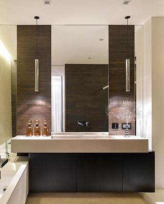 现代新中式主卫生间洗手台装修设计