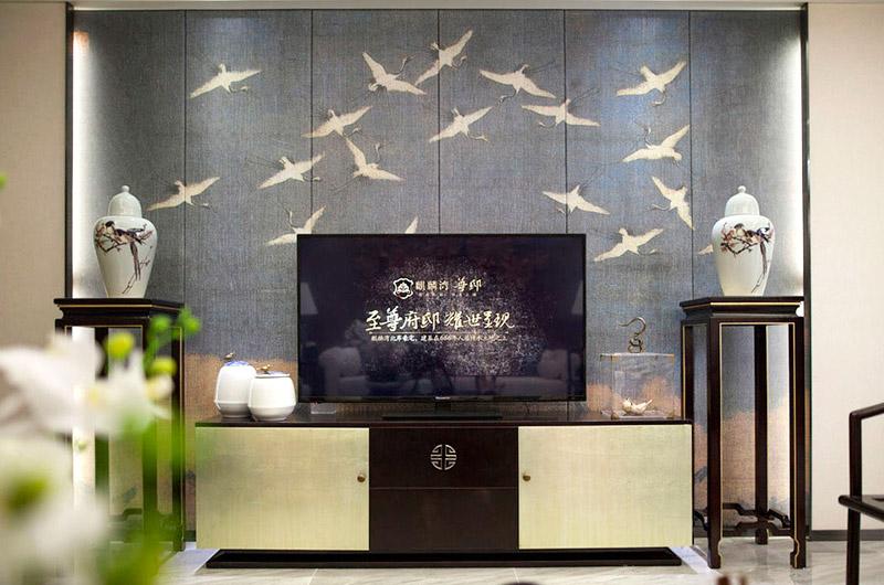 160平中式样板房电视背景墙装修