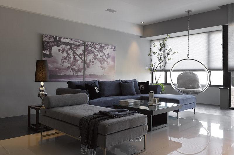 15 20万120平米简约三居室装修效果图,现代简约黑白灰主色调装修案例效果图 齐家装修网