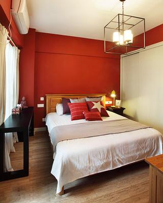 现代简欧风主卧室 橙红色背景墙设计
