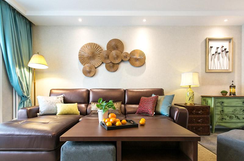 130平混搭风格客厅背景墙装修