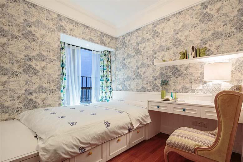 美式新古典榻榻米卧室效果图