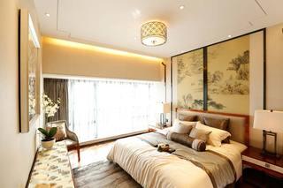 唯美新中式主卧 典雅床头背景墙设计