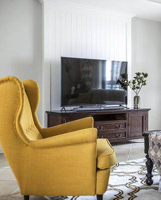 美式家居姜黄色单人沙发图片