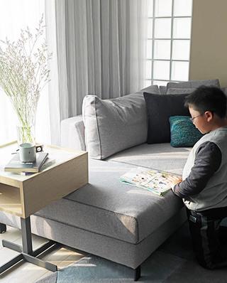 灰色系简约风多功能布艺沙发设计