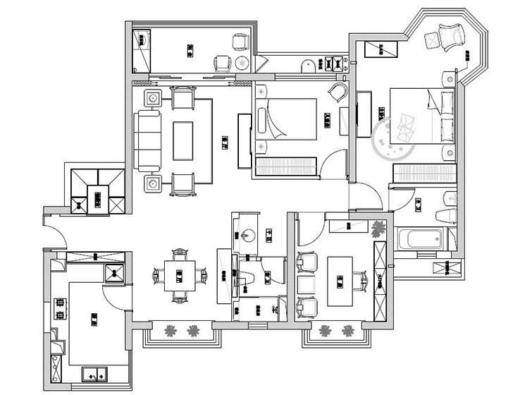 145平米两居室平面图