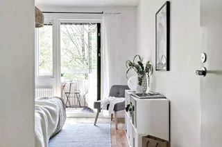 84平北欧两居室卧室展示柜图