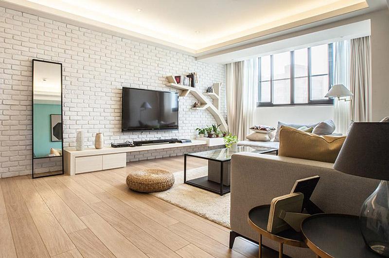北欧风格客厅 文化砖电视背景墙设计