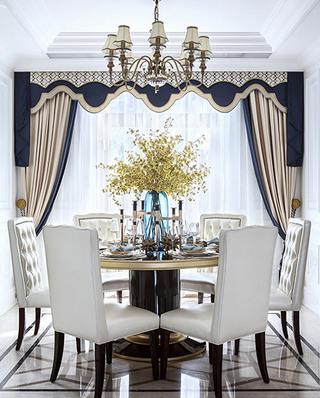 华丽法式餐厅窗帘效果图