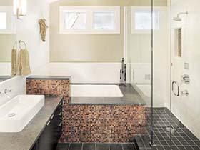 时尚简约风 小户型浴室带浴缸布置图