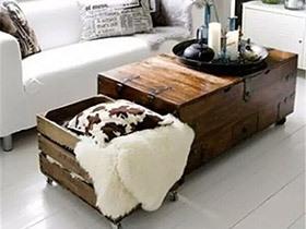 10个木质客厅茶几效果图 旧木箱有新花样