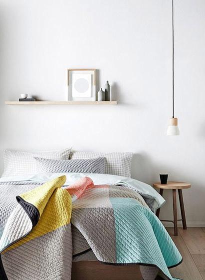 清新北欧风格卧室几何床品图