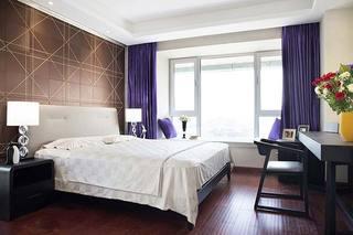 现代简欧风卧室 紫色窗帘设计