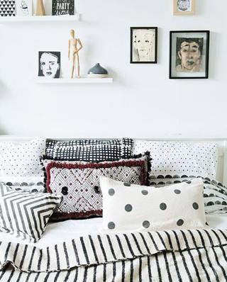 北欧风格卧室几何抱枕图案设计