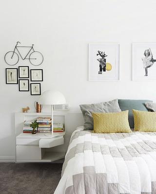北欧卧室几何图案抱枕设计装饰图