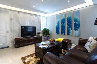 98平混搭三居室客厅装饰画图片