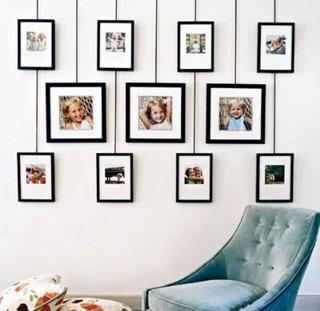 客厅照片墙设计实景摆放图