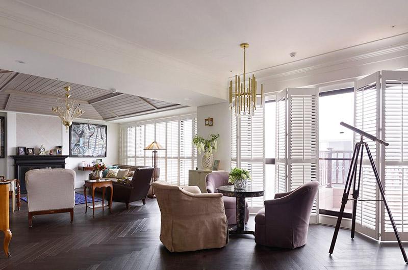 欧美室内装修休闲美式客餐厅装饰效果图
