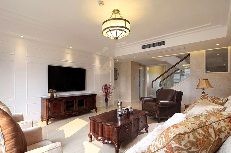 240平欧式别墅客厅电视柜图片