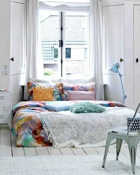 北欧风格亮色床品效果图
