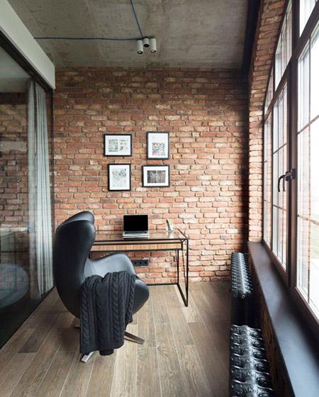 工业风格公寓阳台书房装修
