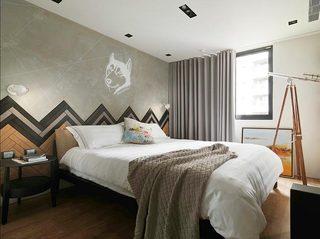 北欧混搭风卧室背景墙设计
