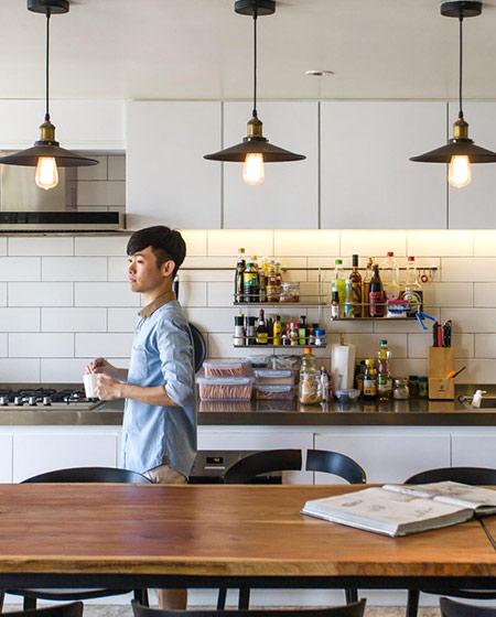 180平复式楼厨房餐厅一体装修