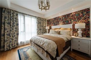 美式风格三房二厅卧室壁纸图片