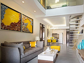 现代简约风格样板房挑高装修 时尚艺术之家