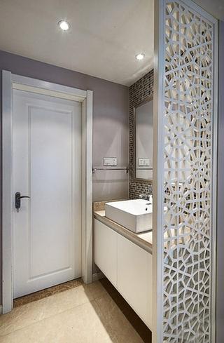 唯美新中式洗手台 镂空隔断装修图
