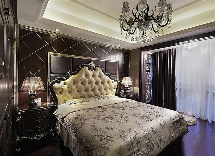 奢华欧式宫廷风 卧室背景墙效果图