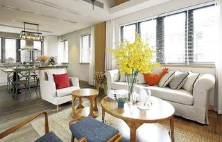 美式风格复式公寓装修布艺沙发图片