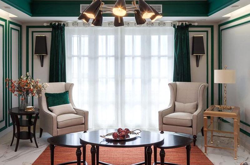 新古典美式客厅窗帘效果图
