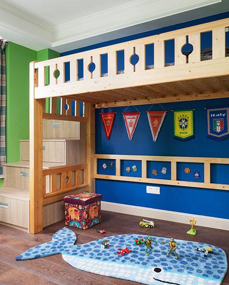蓝色主题美式儿童房装修图