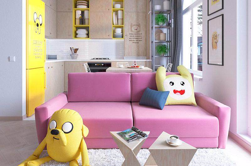 简约风客厅 桃红色双人小沙发设计