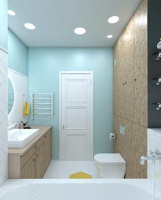 简洁宜家风卫生间 淡绿色背景墙设计