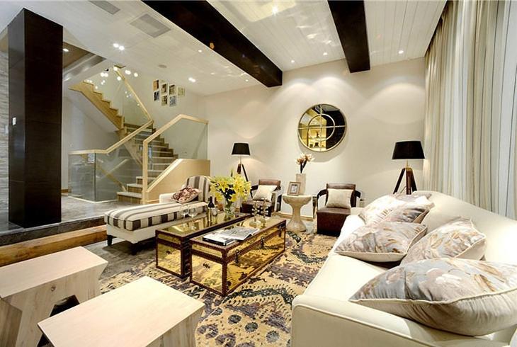 田园风格复式楼装修客厅地毯图片