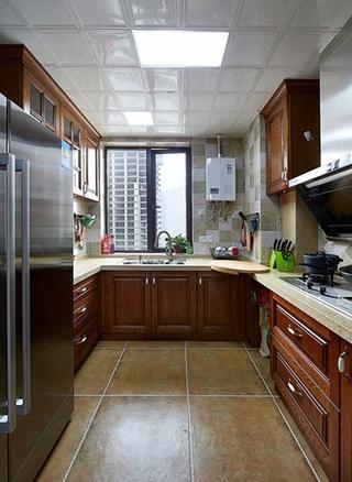 美式风格三房二厅装修整体厨房设计图